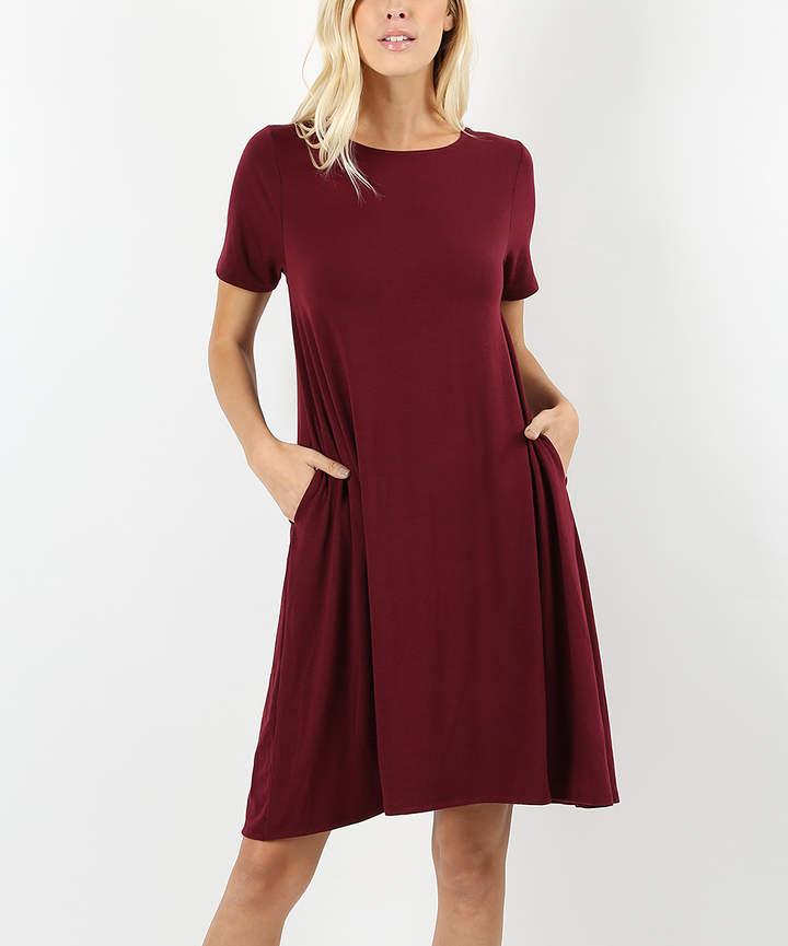 Dark Burgundy Short-Sleeve Shift Dress - Plus