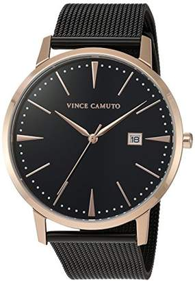 Vince Camuto Women's VC/5300RGBK Date Function Dial Rose Gold-Tone and Black Mesh Bracelet Watch