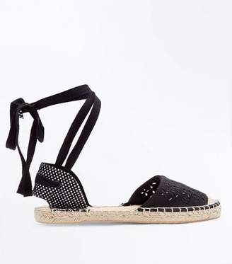 New Look Black Cut Out Ankle Tie Espadrilles
