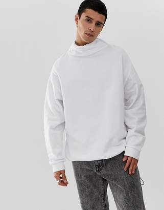 Asos Design DESIGN oversized sweatshirt with toggle details in white