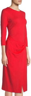 Escada Long-Sleeve Drape-Waist Dress