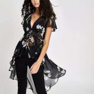 River Island Womens Black floral tie front kimono