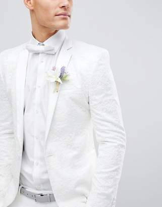 Asos Design DESIGN Wedding Skinny Blazer With Cream Floral Embroidery