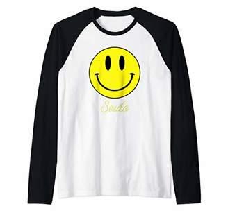Smile Yellow Emoji Happy Smiley Face Raglan Baseball Tee