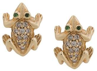 Sydney Evan 14kt yellow gold diamond and garnet frog stud earrings