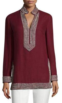 Tory Burch Embellished Linen Tunic