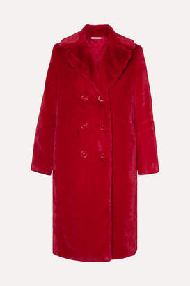 Alice + Olivia Montana Double-breasted Faux Fur Coat - Red