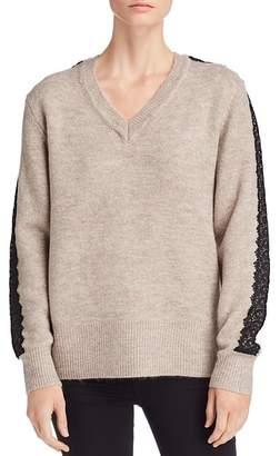 Catherine Malandrino Lace-Trimmed V-Neck Sweater