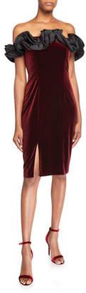 Aidan Mattox Ruffled Off-the-Shoulder Velvet Cocktail Dress