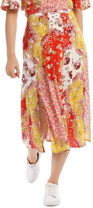 Printed Skirt with Splits