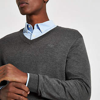 River Island Grey slim fit V neck sweater