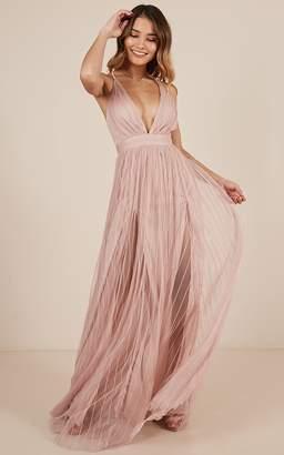 Showpo Teen Hearts maxi dress in blush