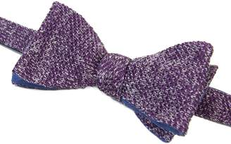 40 Colori - Aubergine & Silver Double Threaded Linen & Silk Knitted Butterfly Bow Tie