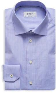 Eton Contemporary Fit Plaid-Print Cotton Dress Shirt