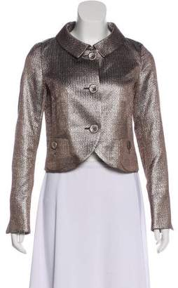 Rene Lezard Silk Metallic Crop Jacket