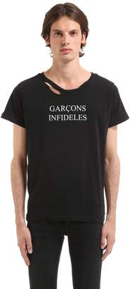 Logo Printed Distressed Jersey T-Shirt