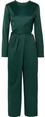 Sies Marjan - Pia Cropped Satin Jumpsuit - Forest green