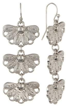 Melrose and Market Triple Flower Linear Dangle Earrings