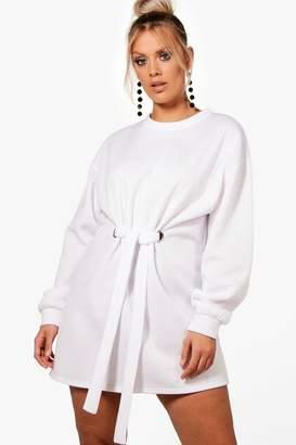 boohoo Plus Front Tie Sweat Dress