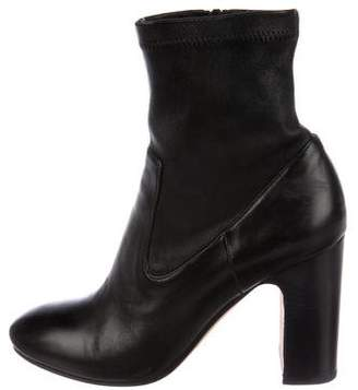 Vince Leather Round-Toe Booties