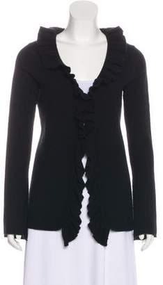 Magaschoni Ruffled Long Sleeve Cardigan
