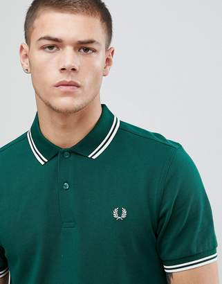 Fred Perry Twin Tipped Polo Shirt In Green