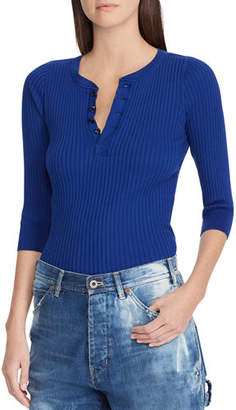 Ralph Lauren Ribbed Cotton Henley Pullover Top