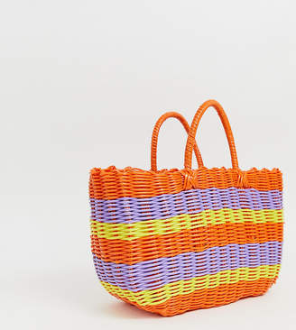 Monki multi stripe basket bag