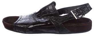 Dolce & Gabbana Crocodile and Patent Leather Sandals
