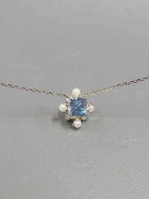 BEIGE Kataoka Aquamarine, Diamond and Pearl Snowflake Necklace Gold