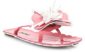 Miu Miu Flower-Applique Leather Flip Flops
