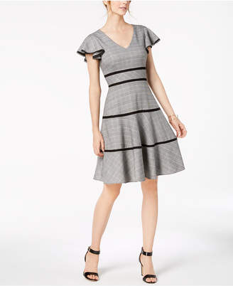 Taylor Plaid Flutter-Sleeve Fit & Flare Dress