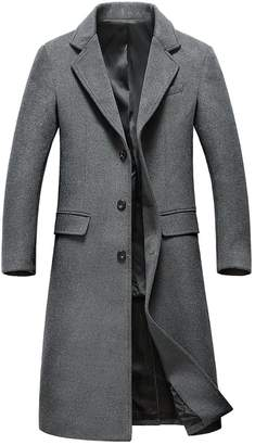 Update Insun Men's Lapel Collar Single Breasted Winter Long Wool Coat Trench Coat 40