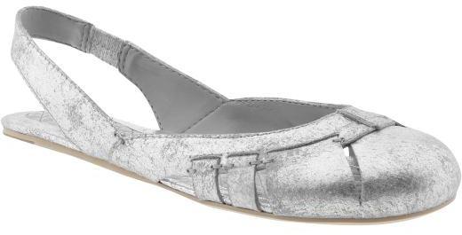 Metallic ballet slingbacks