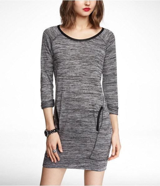 Express Marled Knit Sweatshirt Dress