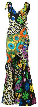 Moschino mixed print fishtail gown
