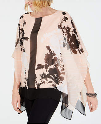 JM Collection Angel-Sleeve Printed Top