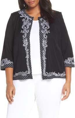 Ming Wang Embroidered Knit Jacket