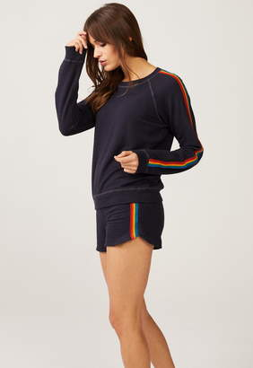 Monrow Super Soft Lounge Shorts With Rainbow Stripes