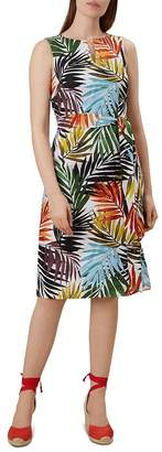 Hobbs London Amalfi Tie-Waist Palm Print Dress