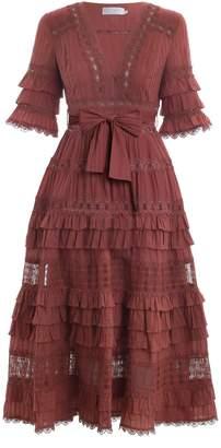 Zimmermann Corsair Frill Tier Long Dress