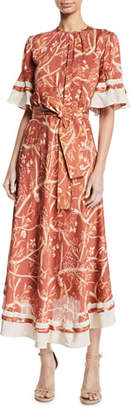 Johanna Ortiz Rhapsody Short-Sleeve Belted Floral-Print Silk Georgette Tea-Length Dress