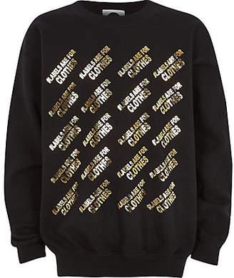 River Island Kids black Ditch the Label charity sweatshirt