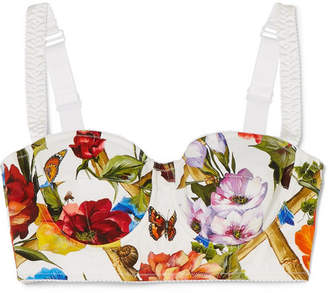 Dolce & Gabbana Printed Cotton-blend Poplin Bra Top - Off-white