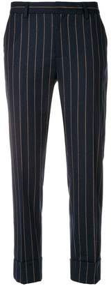 Closed striped tailored trousers