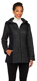 Susan Graver Color-Block Knit Jacket w/ Hood &Faux Leather