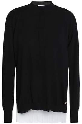 Vionnet Pleated Crepe De Chine-Paneled Wool-Blend Top