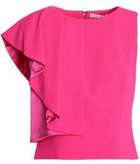 Alice + Olivia Marin Asymmetric Ruffled Crepe Top