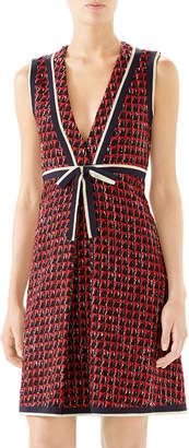 Gucci Ribbon-Trim V-Neck Tweed Dress
