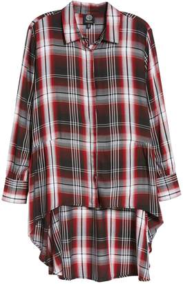 Bobeau Plaid High-Lo Peplum Tunic Blouse